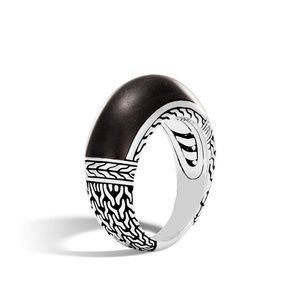 JOHN HARDY Sterling Silver Ebony Wood Ring 6